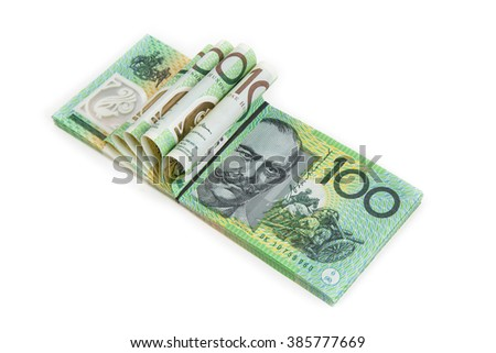 Bank note of Australia on white background