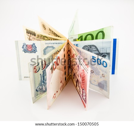 bank notes and plants, currency and financial concepts - stock photo