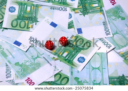 Bank notes 100 euro with red dice game