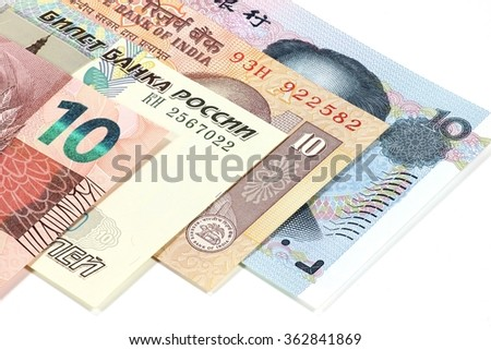 bank notes of the BRIC states on white background