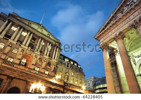Bank of England and Royal Exchange at night. - stock photo