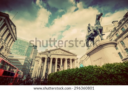 Bank of England, the Royal Exchange in London, the UK. Financial and business heart. Retro, vintage - stock photo