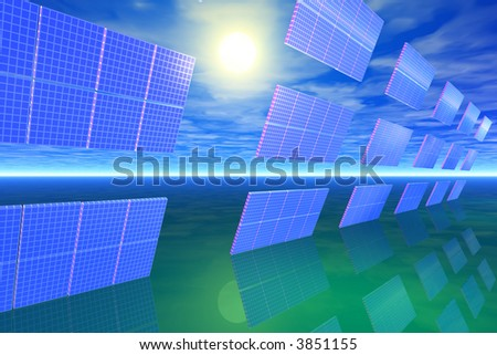 Bank of solar panels in the sun - stock photo