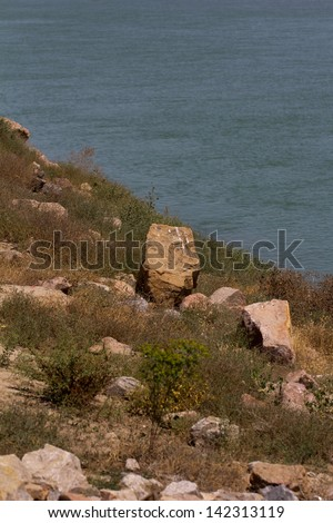 bank of the river as a backdrop - stock photo