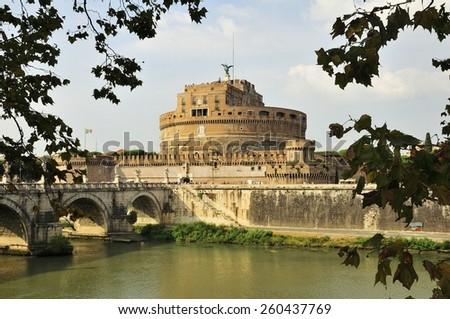 Bank of the Tiber River, Castel Sant'Angelo, Mausoleum of Hadrian, Ponte Sant'Angelo, Rome, Lazio, Italy, Europe - stock photo