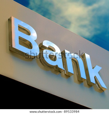 Bank office sign - stock photo