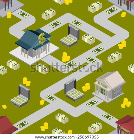 bank pattern maps isometric background - stock photo