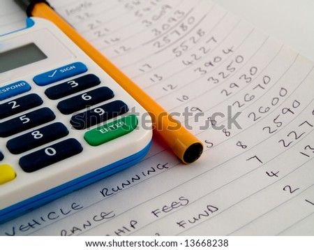 Bank Pin Number Security Calculator With Biro Pen Stylus on White Note Paper Showing a Home or Small Business Financial Budget