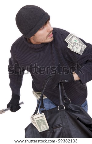 bank robber running with money bag - isolated on white - stock photo