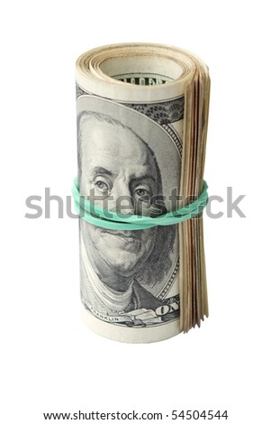 Bank Roll of Hundred Dollar Bills - Isolated on White - stock photo
