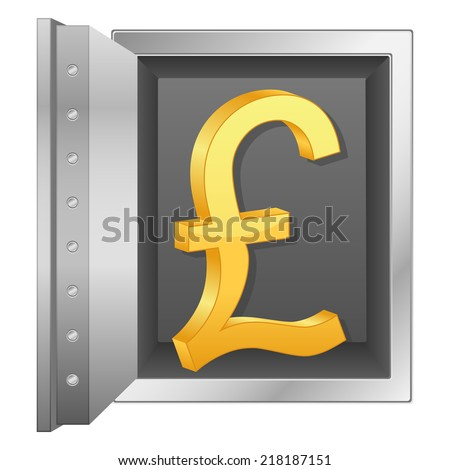 bank safe and gold british pound symbol illustration.