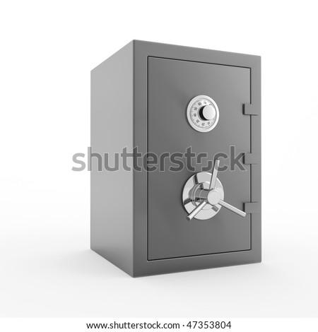 Bank safe. 3d illustration of closed steel safe over white background. - stock photo