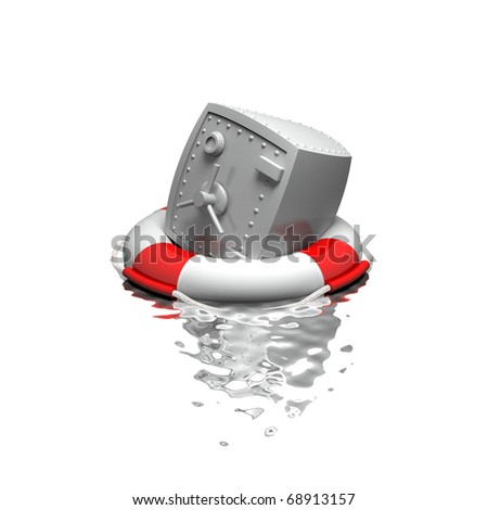 Bank safe in the ring-buoy - stock photo