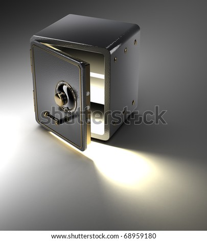 Bank safe isolated on black 3D render - stock photo