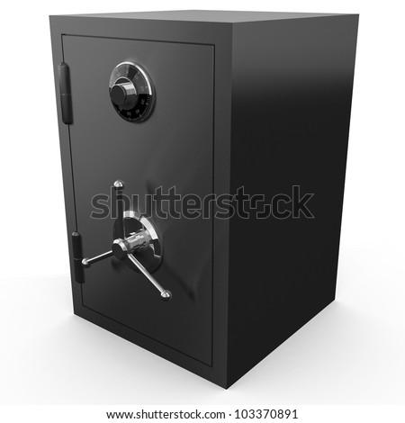Bank safe isolated on white background - stock photo