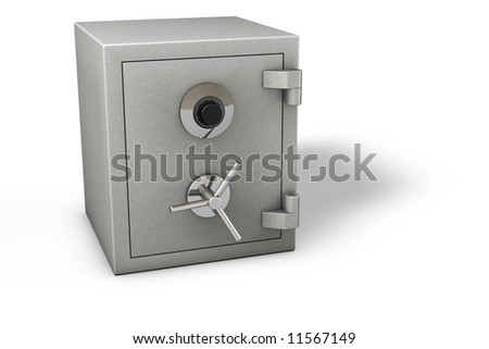Bank safe isolated over a white background. - stock photo