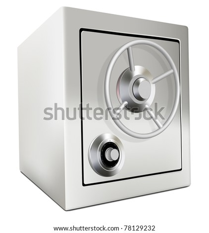 bank safe money savings and treasure in security locked up steel closed door with combination lock keep secret and in privacy protection safety deposit box or bank vault