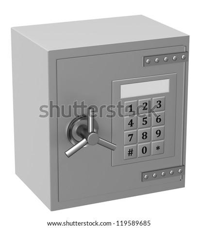 Bank safe on white background - stock photo