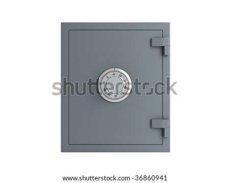 bank safe over white background - stock photo