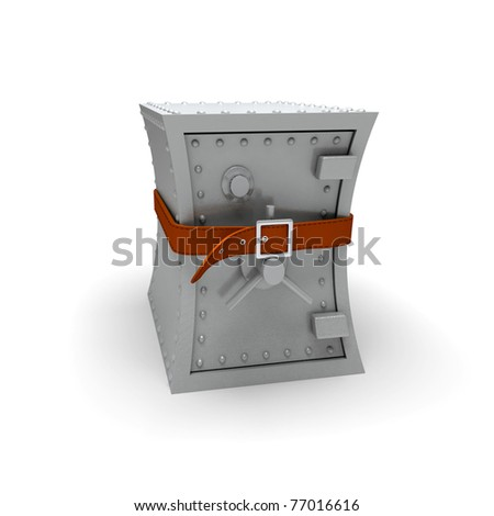 Bank safe squeeze with belt - stock photo