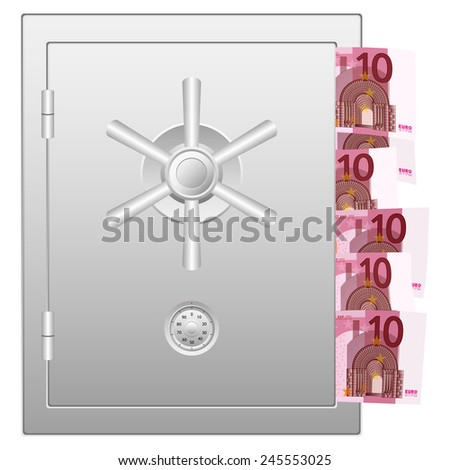 bank safe with 10 euro banknotes illustration.