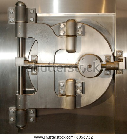 bank safe with steel doors  - stock photo