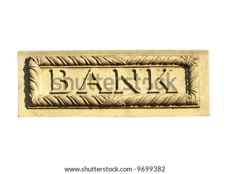 Bank sign carved in stone