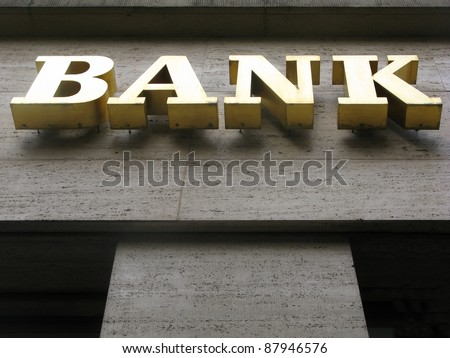 bank sign in Berlin - stock photo