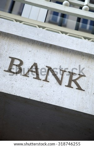Bank Sign in Urban Setting