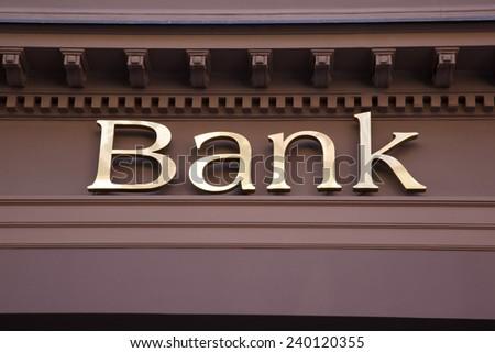 Bank Sign on Branch Facade - stock photo