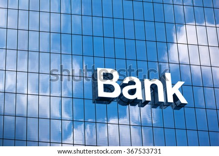 Bank sign on the modern building close up - stock photo