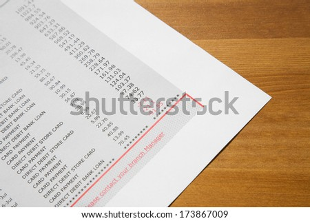 Bank statement - stock photo