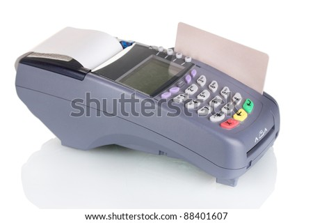 bank terminal and credit card  isolated on white - stock photo