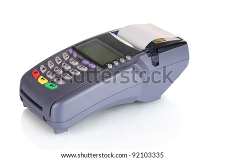 bank terminal isolated on white - stock photo