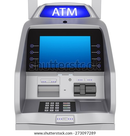 Bank terminal modern style on a white background. ATM cash terminal with display - stock photo