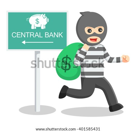 Bank thief illustration - stock photo