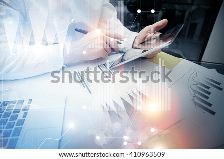 Bank trade manager working process.Concept photo trader work market report modern tablet.Using electronic device.Graphic icons,stock exchange reports screen interfaces.Business startup.Film effect - stock photo