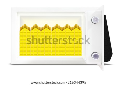 bank vault and lots of gold bars isolate on white background with clipping path - stock photo