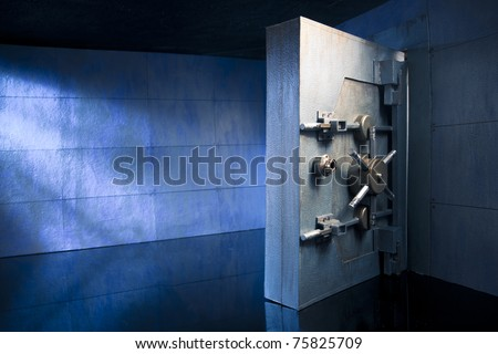 bank vault at night - stock photo