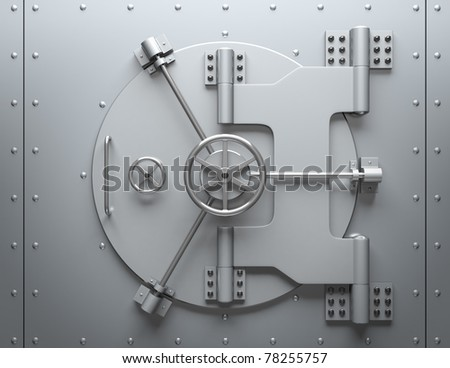 Bank vault closed. Computer generated image