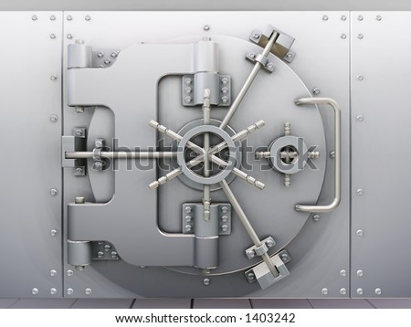 Bank vault - 3D render - stock photo