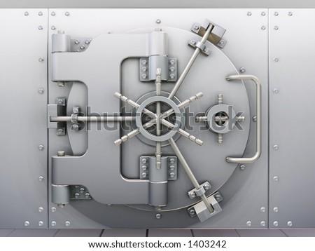 Bank vault - 3D render - stock photo