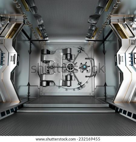 Bank Vault Door Closed - stock photo