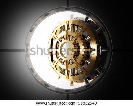 bank vault door 3d view from safety room - stock photo