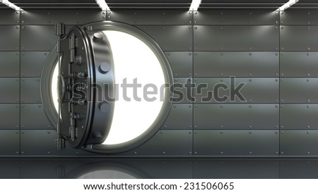 Bank Vault Door interior. High resolution 3d  - stock photo