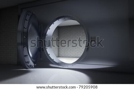 Bank vault door open background - stock photo