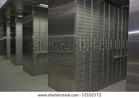 Bank Vault Safe Deposit Box in Historic Building - stock photo