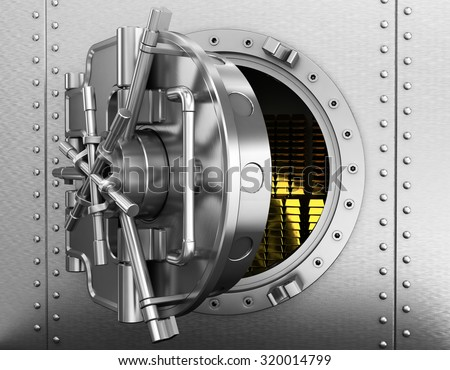Bank vault with gold bars - stock photo