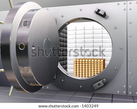 Bank vault with gold bars - 3D render - stock photo