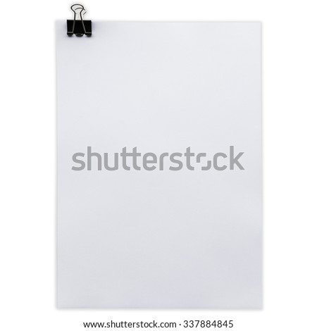 Bank white paper on isolated white with clipping path.